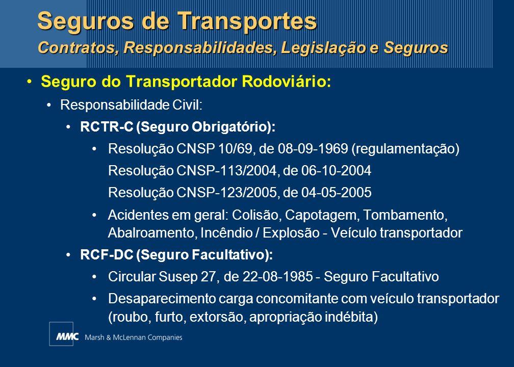 Seguro do Transportador (outros modais): Responsabilidade Civil: Ferroviário:RCTF-C - Responsabilidade Civil do Transportador Ferroviário de Carga Aéreo:RCTA-C - Responsabilidade Civil do Transportador Aéreo de Carga Cabotagem / Fluvial/Lacustre:RCA-C - Responsabilidade Civil do Armador de Carga Seguros de Transportes Contratos, Responsabilidades, Legislação e Seguros