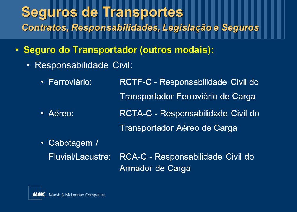 Seguro do Transportador (outros modais): Responsabilidade Civil: Ferroviário:RCTF-C - Responsabilidade Civil do Transportador Ferroviário de Carga Aér