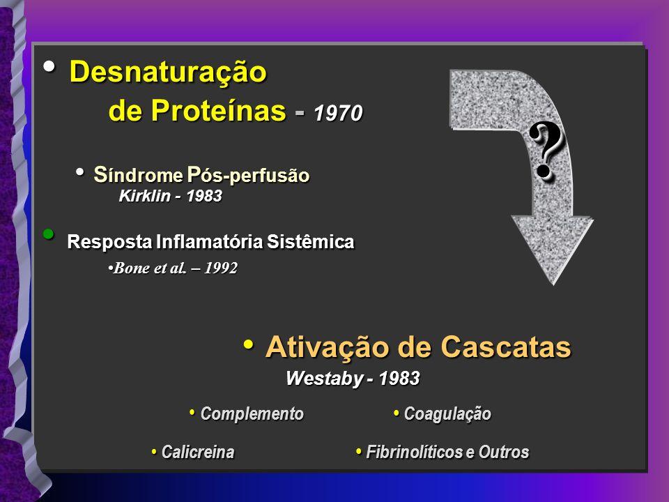 Desnaturação Desnaturação de Proteínas - 1970 de Proteínas - 1970 S índrome P ós-perfusão S índrome P ós-perfusão Kirklin - 1983 Kirklin - 1983 Respos