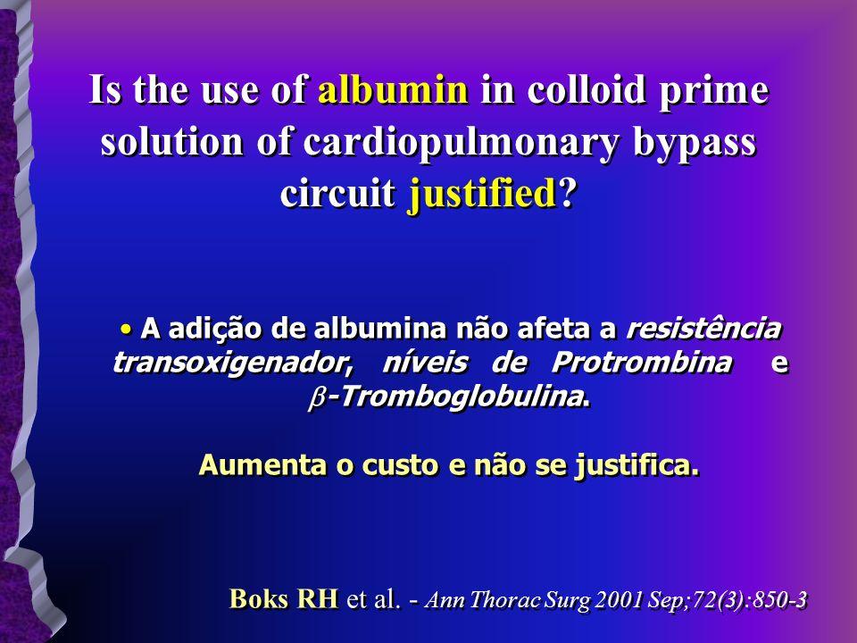 Is the use of albumin in colloid prime solution of cardiopulmonary bypass circuit justified? A adição de albumina não afeta a resistência transoxigena