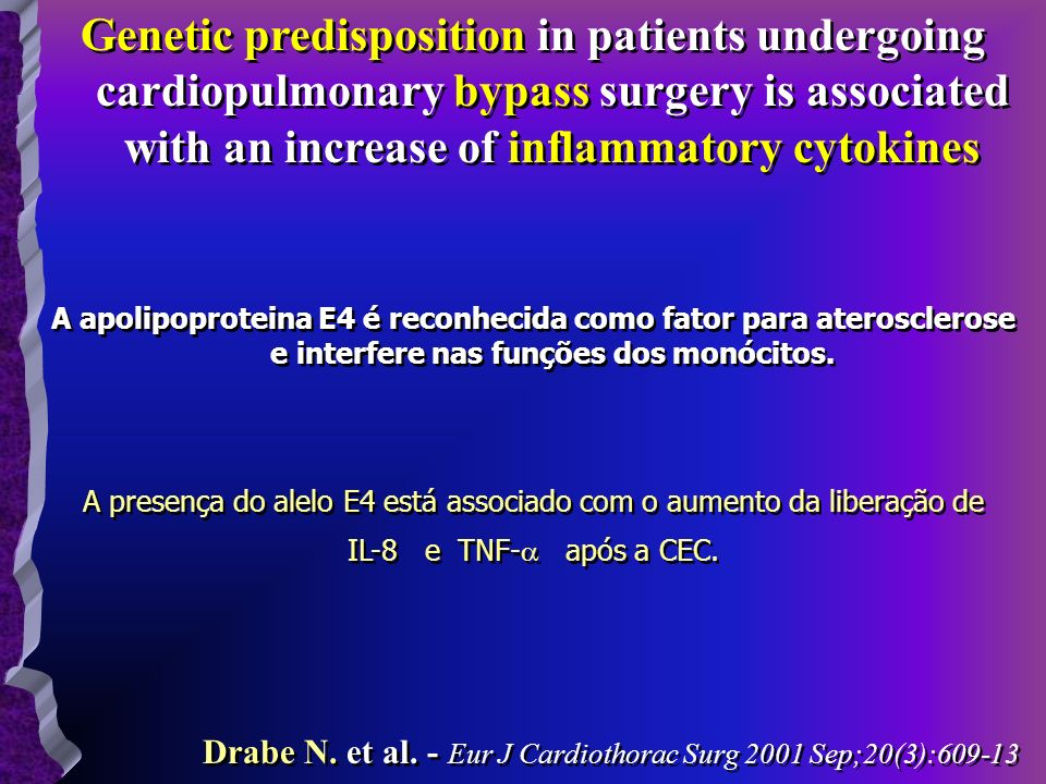 Genetic predisposition in patients undergoing cardiopulmonary bypass surgery is associated with an increase of inflammatory cytokines A apolipoprotein