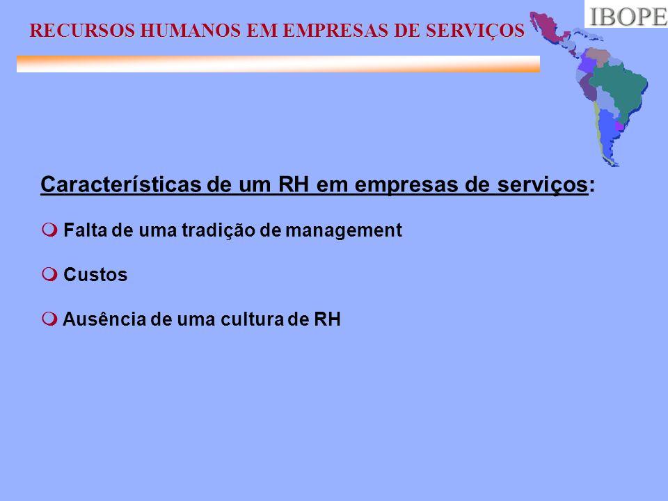 Características de um RH em empresas de serviços: Falta de uma tradição de management Custos Ausência de uma cultura de RH RECURSOS HUMANOS EM EMPRESA