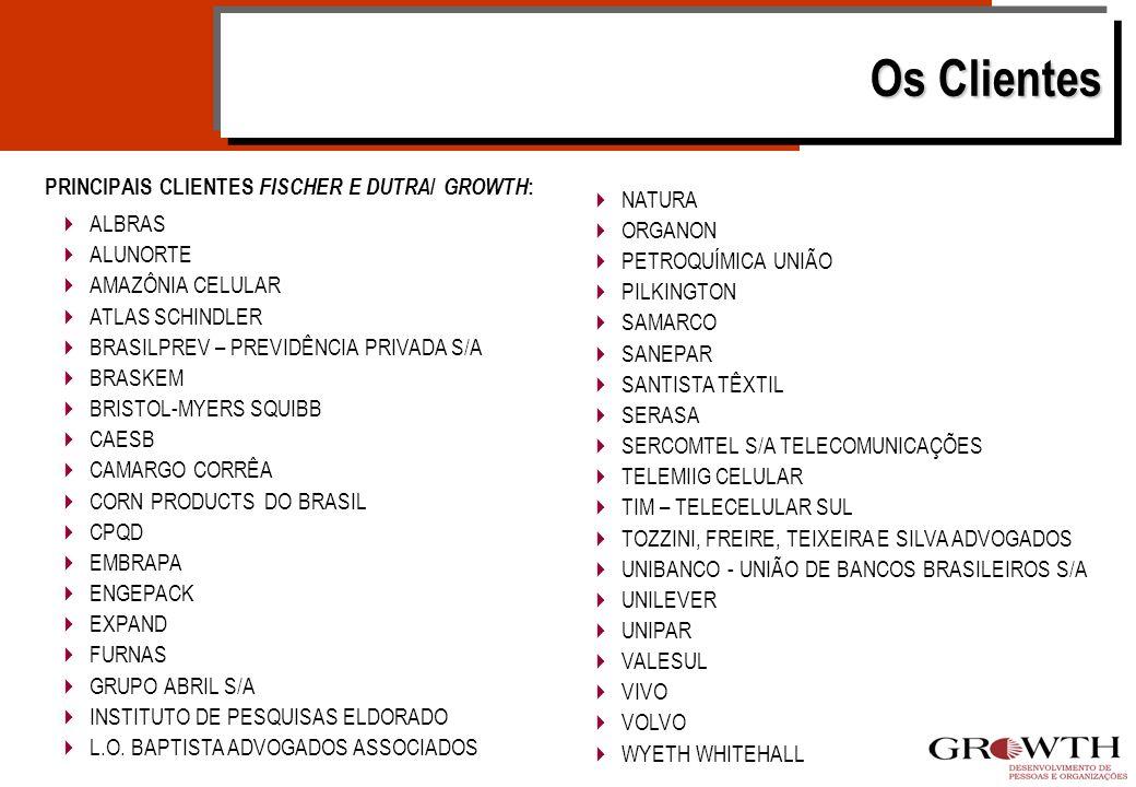 Os Clientes PRINCIPAIS CLIENTES FISCHER E DUTRA / GROWTH : NATURA ORGANON PETROQUÍMICA UNIÃO PILKINGTON SAMARCO SANEPAR SANTISTA TÊXTIL SERASA SERCOMTEL S/A TELECOMUNICAÇÕES TELEMIIG CELULAR TIM – TELECELULAR SUL TOZZINI, FREIRE, TEIXEIRA E SILVA ADVOGADOS UNIBANCO - UNIÃO DE BANCOS BRASILEIROS S/A UNILEVER UNIPAR VALESUL VIVO VOLVO WYETH WHITEHALL ALBRAS ALUNORTE AMAZÔNIA CELULAR ATLAS SCHINDLER BRASILPREV – PREVIDÊNCIA PRIVADA S/A BRASKEM BRISTOL-MYERS SQUIBB CAESB CAMARGO CORRÊA CORN PRODUCTS DO BRASIL CPQD EMBRAPA ENGEPACK EXPAND FURNAS GRUPO ABRIL S/A INSTITUTO DE PESQUISAS ELDORADO L.O.