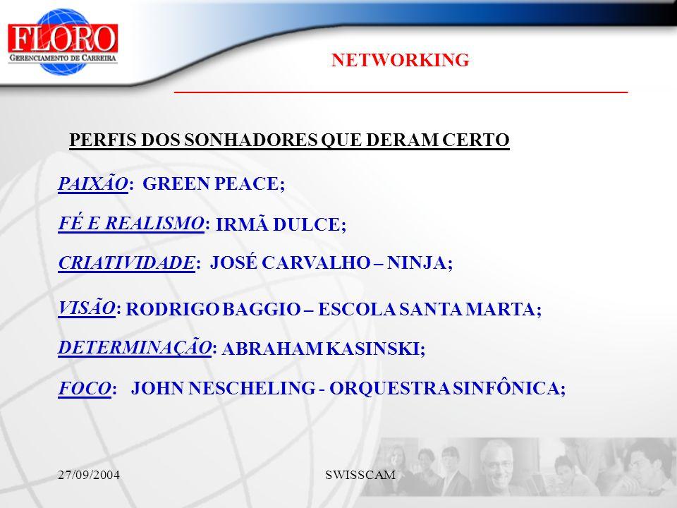 NETWORKING ________________________________________________ 27/09/2004 SWISSCAM PAIXÃO: FÉ E REALISMO: CRIATIVIDADE: VISÃO: DETERMINAÇÃO: GREEN PEACE; IRMÃ DULCE; JOSÉ CARVALHO – NINJA; RODRIGO BAGGIO – ESCOLA SANTA MARTA; ABRAHAM KASINSKI; PERFIS DOS SONHADORES QUE DERAM CERTO FOCO:JOHN NESCHELING - ORQUESTRA SINFÔNICA;