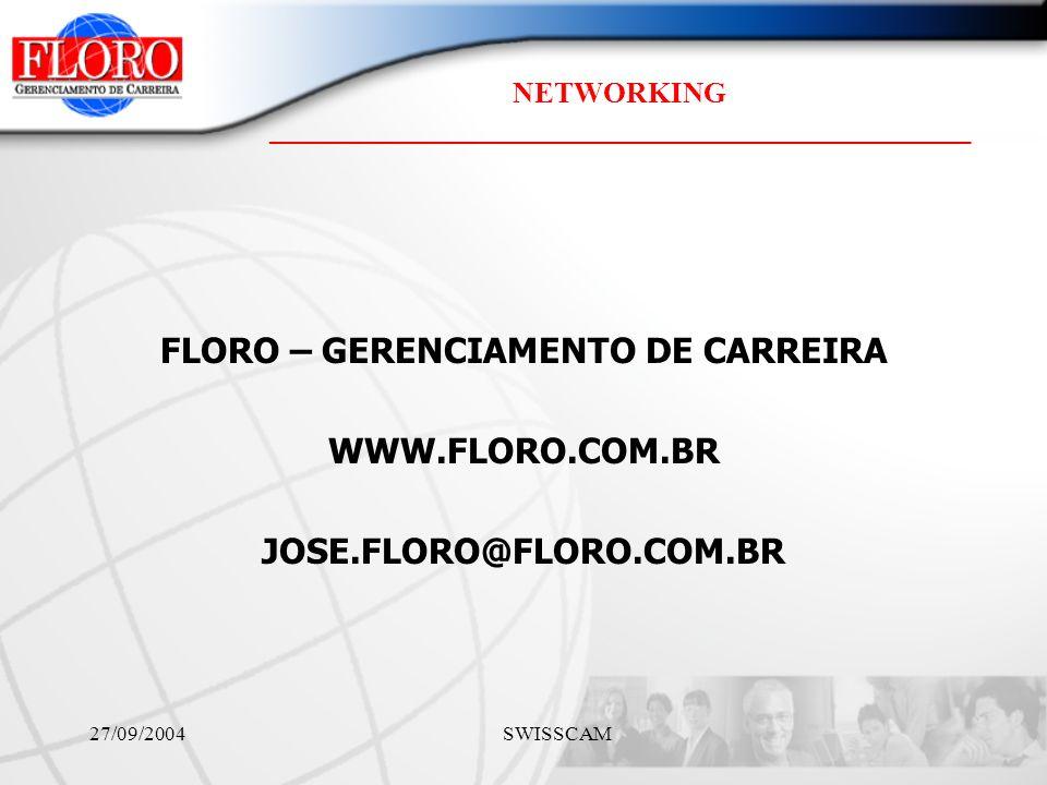 NETWORKING ________________________________________________ 27/09/2004 SWISSCAM FLORO – GERENCIAMENTO DE CARREIRA WWW.FLORO.COM.BR JOSE.FLORO@FLORO.COM.BR