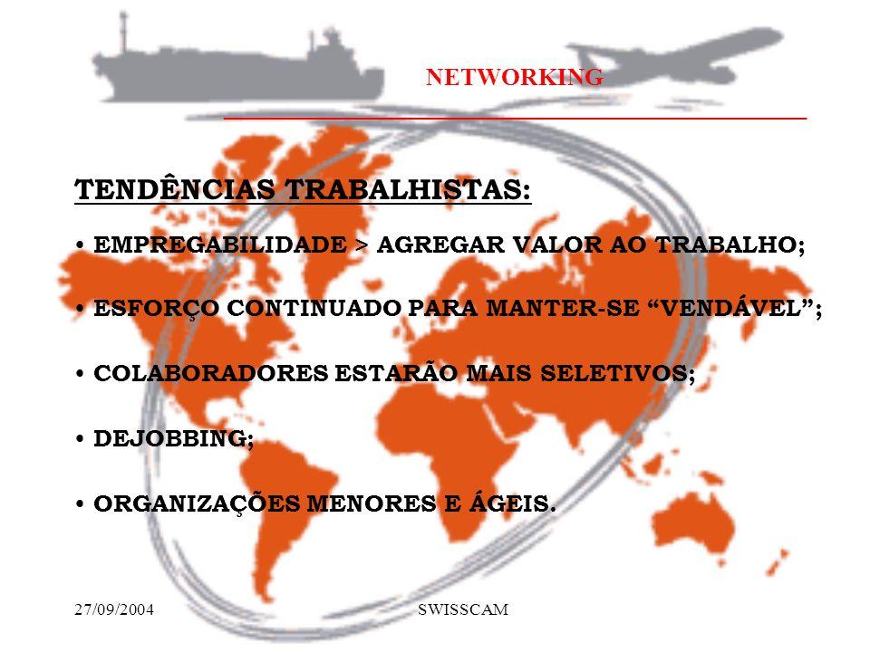 NETWORKING ________________________________________________ 27/09/2004 SWISSCAM EMPREGABILIDADE > AGREGAR VALOR AO TRABALHO; TENDÊNCIAS TRABALHISTAS: ESFORÇO CONTINUADO PARA MANTER-SE VENDÁVEL; COLABORADORES ESTARÃO MAIS SELETIVOS; DEJOBBING; ORGANIZAÇÕES MENORES E ÁGEIS.
