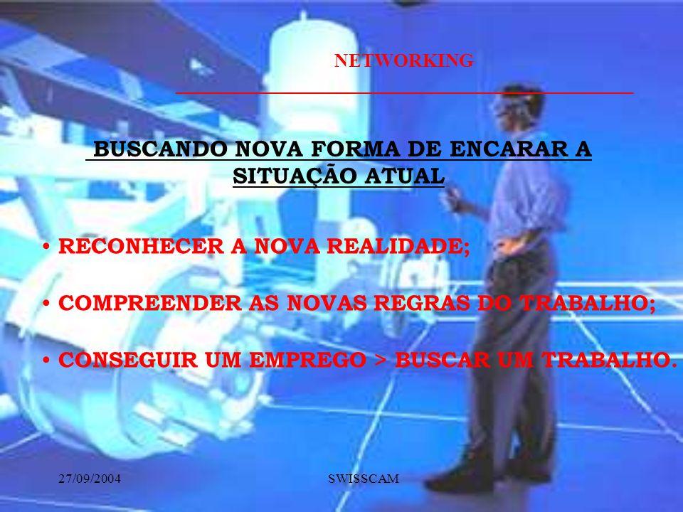 NETWORKING ________________________________________________ 27/09/2004 SWISSCAM RECONHECER A NOVA REALIDADE; BUSCANDO NOVA FORMA DE ENCARAR A SITUAÇÃO ATUAL COMPREENDER AS NOVAS REGRAS DO TRABALHO; CONSEGUIR UM EMPREGO > BUSCAR UM TRABALHO.