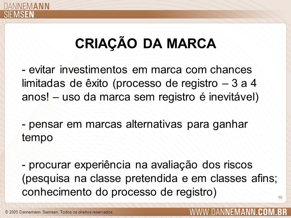 © 2005 Dannemann Siemsen. Todos os direitos reservados. 10 CRIAÇÃO DA MARCA - evitar investimentos em marca com chances limitadas de êxito (processo d