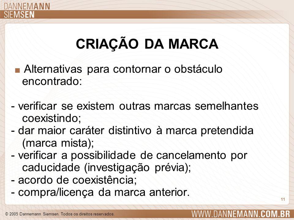 © 2005 Dannemann Siemsen. Todos os direitos reservados. 11 CRIAÇÃO DA MARCA. Alternativas para contornar o obstáculo encontrado: - verificar se existe