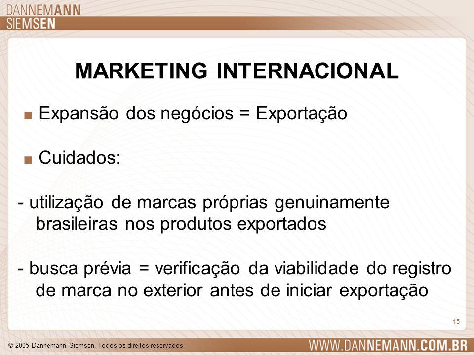 © 2005 Dannemann Siemsen. Todos os direitos reservados. 15 MARKETING INTERNACIONAL. Expansão dos negócios = Exportação. Cuidados: - utilização de marc