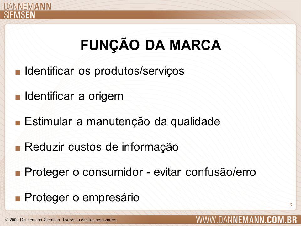 © 2005 Dannemann Siemsen. Todos os direitos reservados. 3 FUNÇÃO DA MARCA. Identificar os produtos/serviços. Identificar a origem. Estimular a manuten