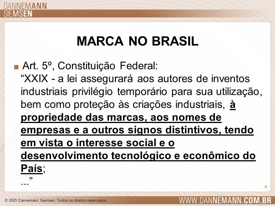 © 2005 Dannemann Siemsen. Todos os direitos reservados. 4 MARCA NO BRASIL. Art. 5º, Constituição Federal: XXIX - a lei assegurará aos autores de inven