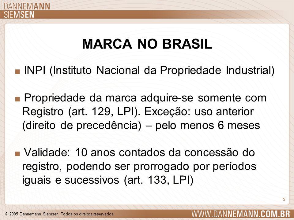 © 2005 Dannemann Siemsen. Todos os direitos reservados. 5 MARCA NO BRASIL. INPI (Instituto Nacional da Propriedade Industrial). Propriedade da marca a