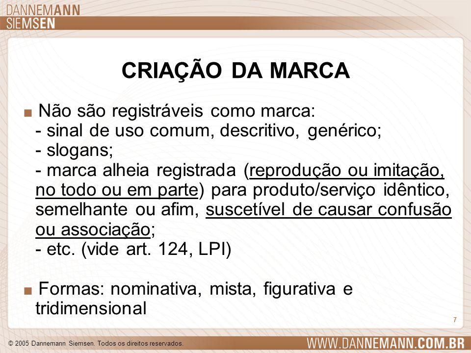 © 2005 Dannemann Siemsen. Todos os direitos reservados. 7 CRIAÇÃO DA MARCA. Não são registráveis como marca: - sinal de uso comum, descritivo, genéric