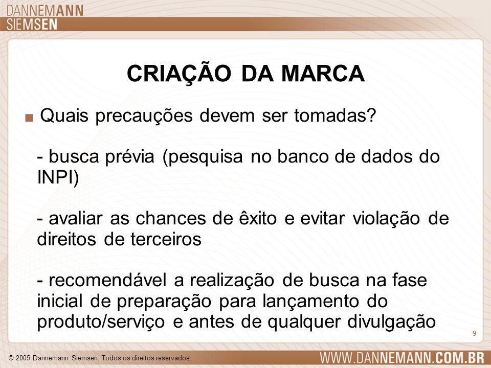 © 2005 Dannemann Siemsen. Todos os direitos reservados. 9 CRIAÇÃO DA MARCA. Quais precauções devem ser tomadas? - busca prévia (pesquisa no banco de d