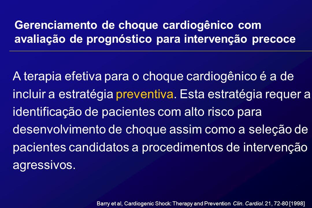 Gerenciamento de choque cardiogênico com avaliação de prognóstico para intervenção precoce A terapia efetiva para o choque cardiogênico é a de incluir