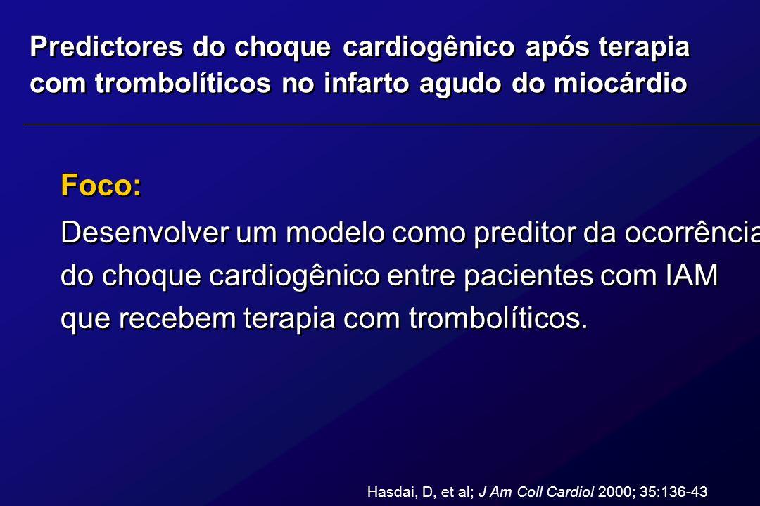 Predictores do choque cardiogênico após terapia com trombolíticos no infarto agudo do miocárdio Foco: Desenvolver um modelo como preditor da ocorrênci