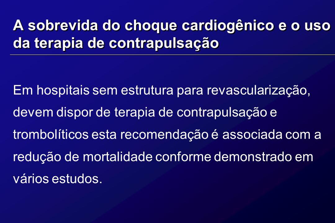A sobrevida do choque cardiogênico e o uso da terapia de contrapulsação Em hospitais sem estrutura para revascularização, devem dispor de terapia de c