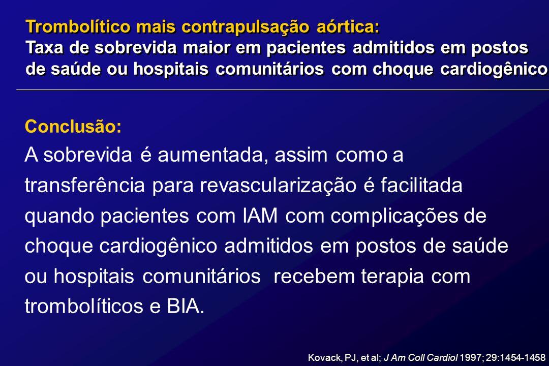 Conclusão: A sobrevida é aumentada, assim como a transferência para revascularização é facilitada quando pacientes com IAM com complicações de choque