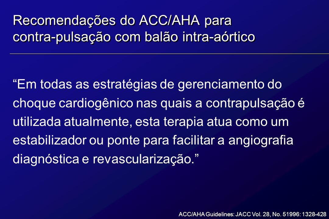 Recomendações do ACC/AHA para contra-pulsação com balão intra-aórtico Em todas as estratégias de gerenciamento do choque cardiogênico nas quais a cont