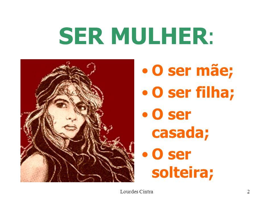 Lourdes Cintra2 SER MULHER : O ser mãe; O ser filha; O ser casada; O ser solteira;