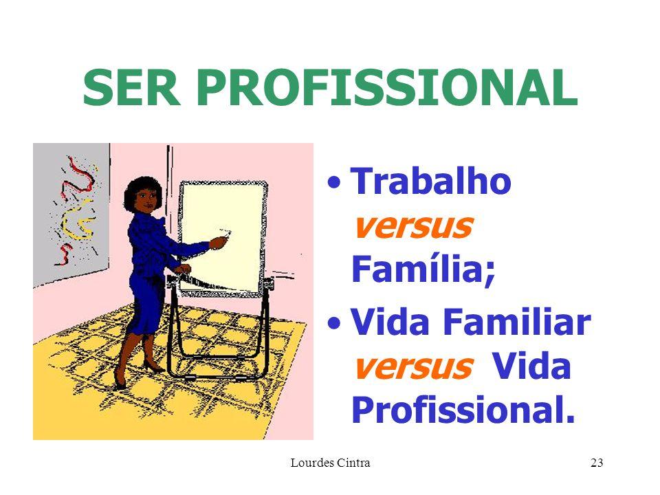 Lourdes Cintra23 SER PROFISSIONAL Trabalho versus Família; Vida Familiar versus Vida Profissional.