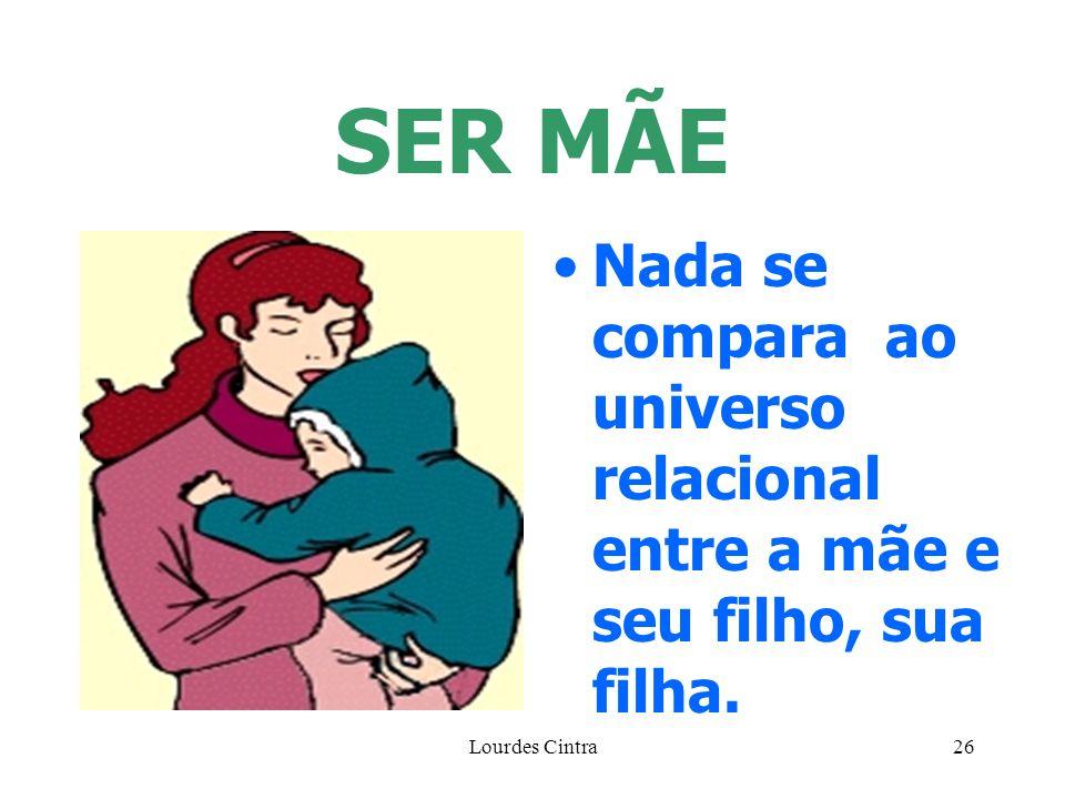 Lourdes Cintra26 SER MÃE Nada se compara ao universo relacional entre a mãe e seu filho, sua filha.