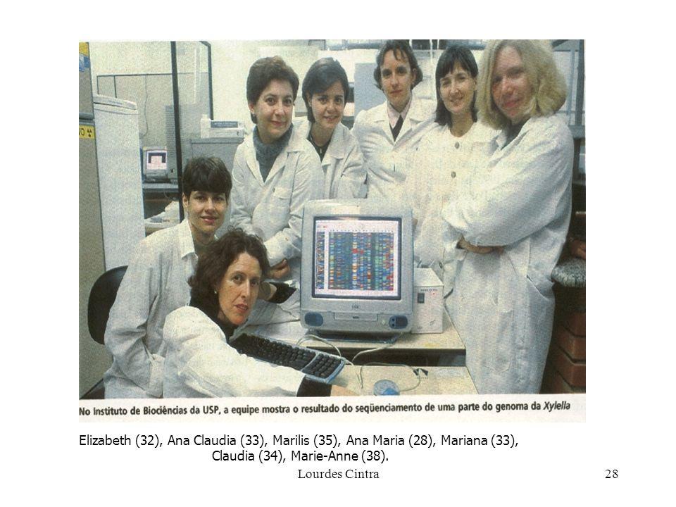 Lourdes Cintra28 Elizabeth (32), Ana Claudia (33), Marilis (35), Ana Maria (28), Mariana (33), Claudia (34), Marie-Anne (38).