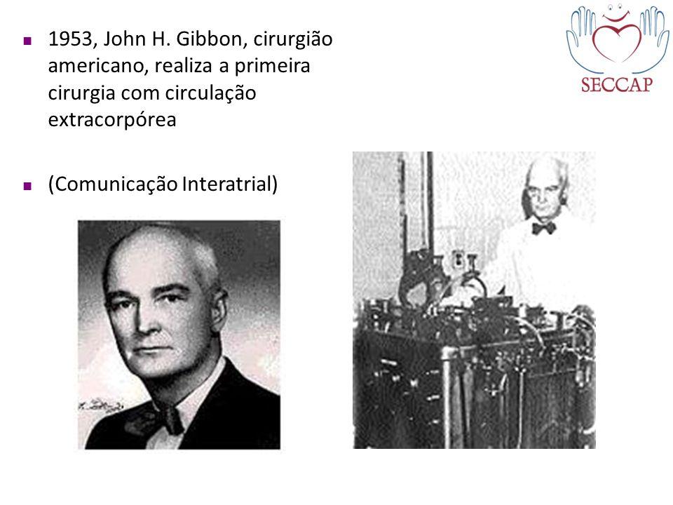 1953, John H. Gibbon, cirurgião americano, realiza a primeira cirurgia com circulação extracorpórea (Comunicação Interatrial)