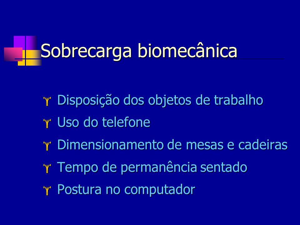Sobrecarga biomecânica Disposição dos objetos de trabalho Disposição dos objetos de trabalho Uso do telefone Uso do telefone Dimensionamento de mesas