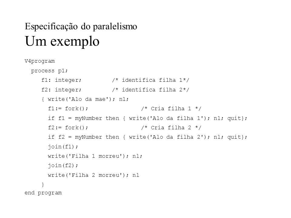 Especificação do paralelismo Um exemplo V4program process p1; f1: integer;/* identifica filha 1*/ f2: integer;/* identifica filha 2*/ { write('Alo da