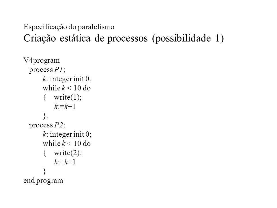 Especificação do paralelismo Criação estática de processos (possibilidade 1) V4program process P1; k: integer init 0; while k < 10 do { write(1); k:=k