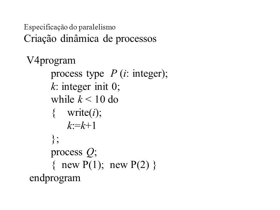 Especificação do paralelismo Criação dinâmica de processos V4program process type P (i: integer); k: integer init 0; while k < 10 do { write(i); k:=k+