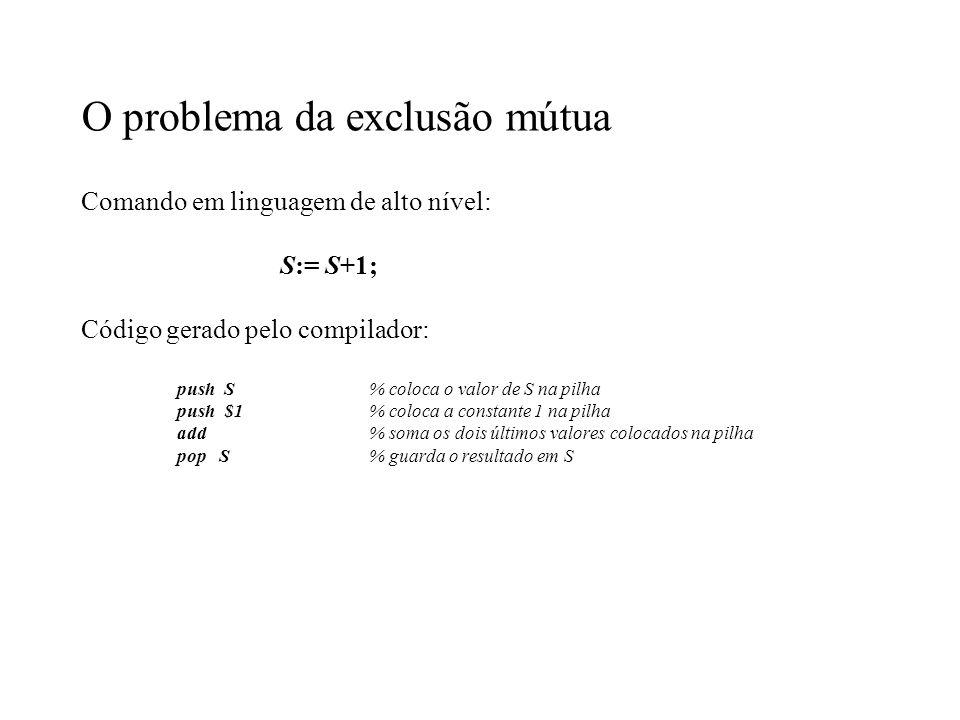 O problema da exclusão mútua Comando em linguagem de alto nível: S:= S+1; Código gerado pelo compilador: push S% coloca o valor de S na pilha push $1%