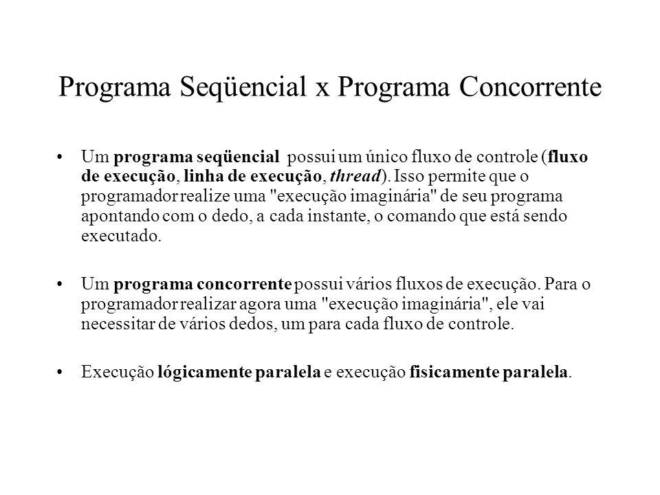 Especificação do paralelismo Criação dinâmica de processos V4program process type P (i: integer); k: integer init 0; while k < 10 do { write(i); k:=k+1 }; process Q; { new P(1); new P(2) } endprogram