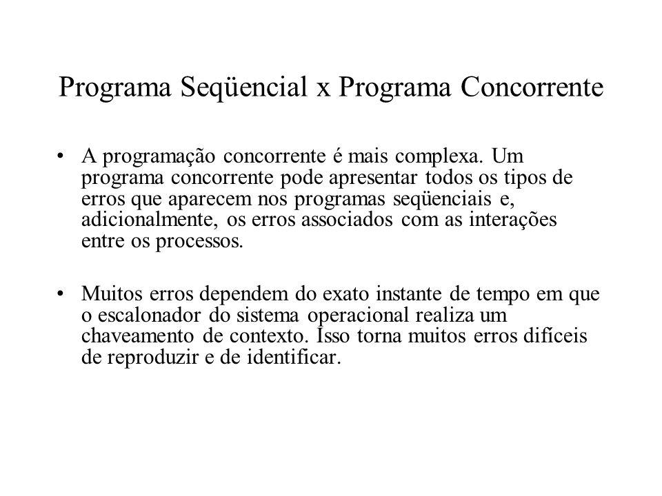 Programa Seqüencial x Programa Concorrente A programação concorrente é mais complexa. Um programa concorrente pode apresentar todos os tipos de erros
