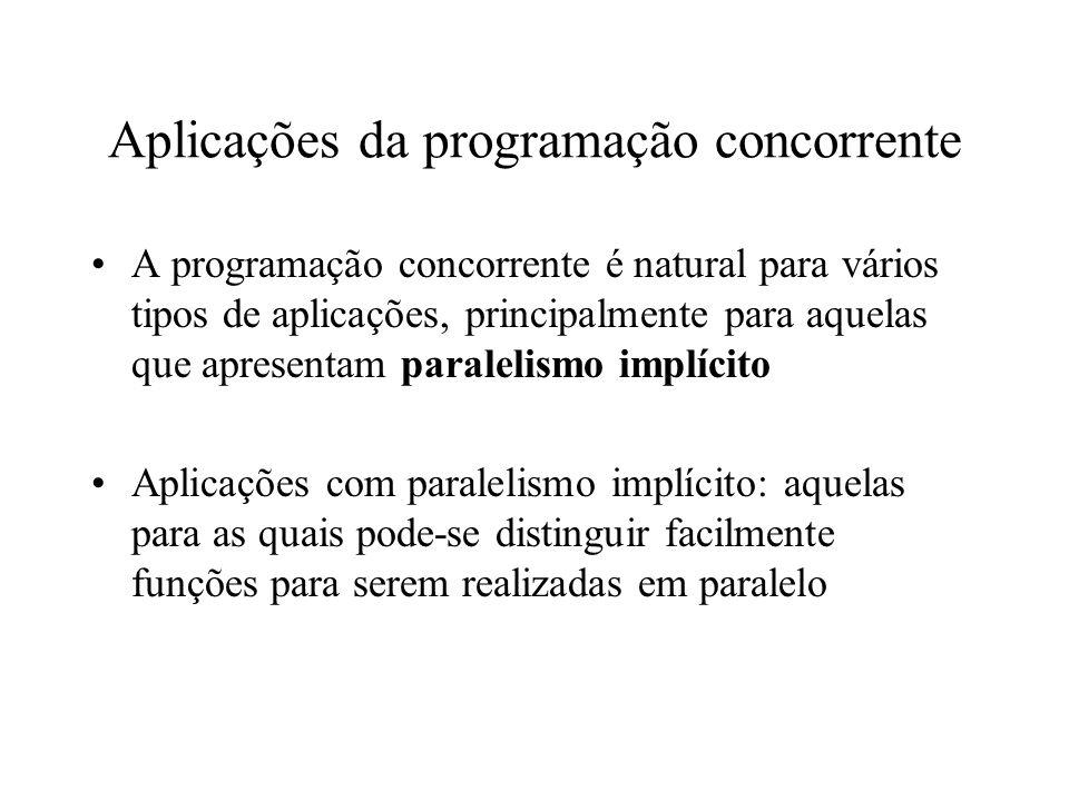 Especificação do paralelismo Compartilhamento de um procedimento V4program procedure imprime(i: integer); k: integer init 0; while k < 10 do { write(i); k:=k+1 }; process P1; imprime(1); process P2; imprime(2) endprogram