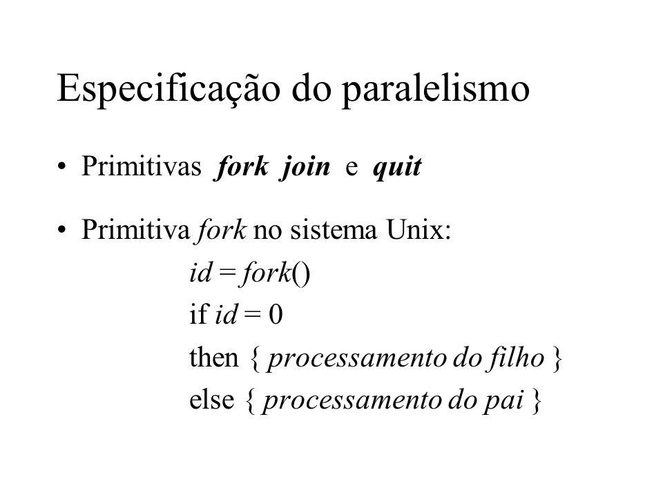 Especificação do paralelismo Primitivas fork join e quit Primitiva fork no sistema Unix: id = fork() if id = 0 then { processamento do filho } else {