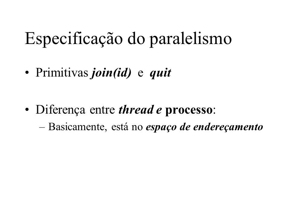 Especificação do paralelismo Um exemplo V4program process p1; f1: integer;/* identifica filha 1*/ f2: integer;/* identifica filha 2*/ { write( Alo da mae ); nl; f1:= fork();/* Cria filha 1 */ if f1 = myNumber then { write( Alo da filha 1 ); nl; quit}; f2:= fork();/* Cria filha 2 */ if f2 = myNumber then { write( Alo da filha 2 ); nl; quit}; join(f1); write( Filha 1 morreu ); nl; join(f2); write( Filha 2 morreu ); nl } end program