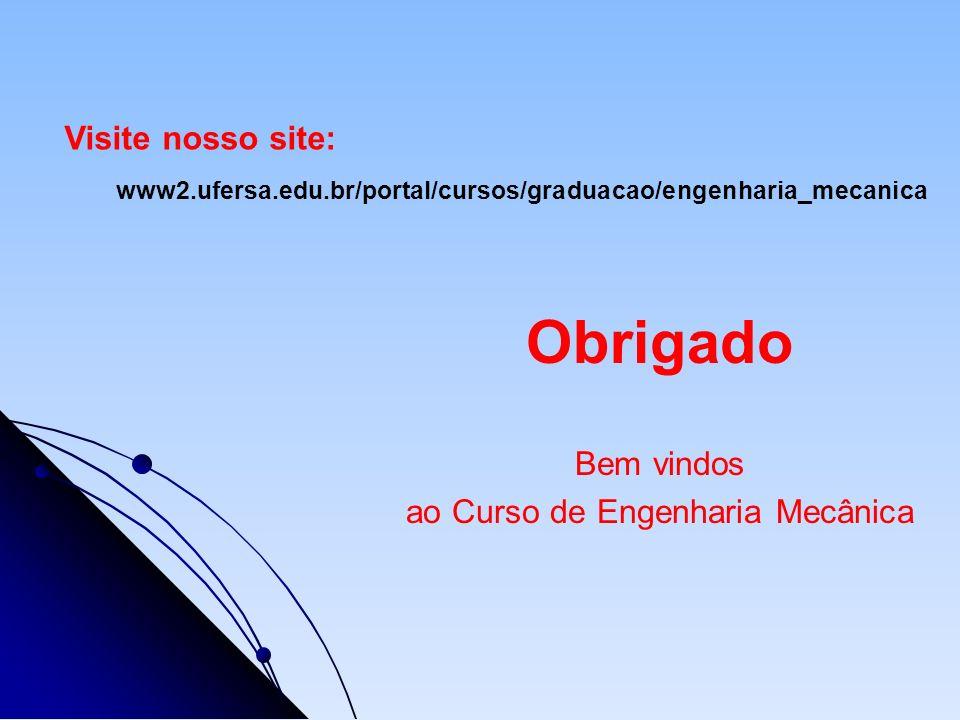 Obrigado Bem vindos ao Curso de Engenharia Mecânica www2.ufersa.edu.br/portal/cursos/graduacao/engenharia_mecanica Visite nosso site: