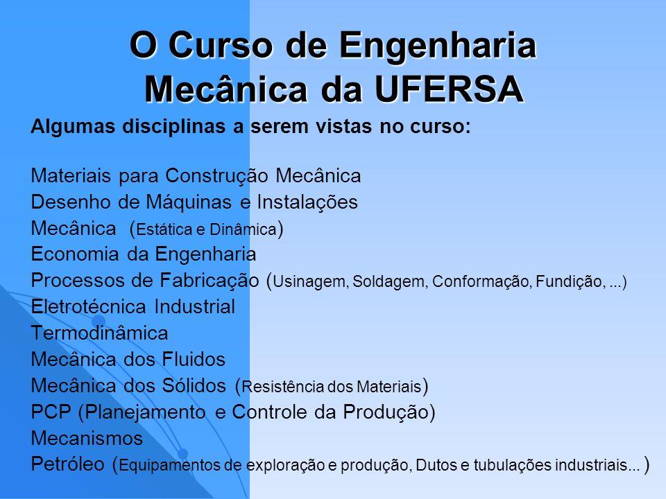 O Curso de Engenharia Mecânica da UFERSA Algumas disciplinas a serem vistas no curso: Materiais para Construção Mecânica Desenho de Máquinas e Instala