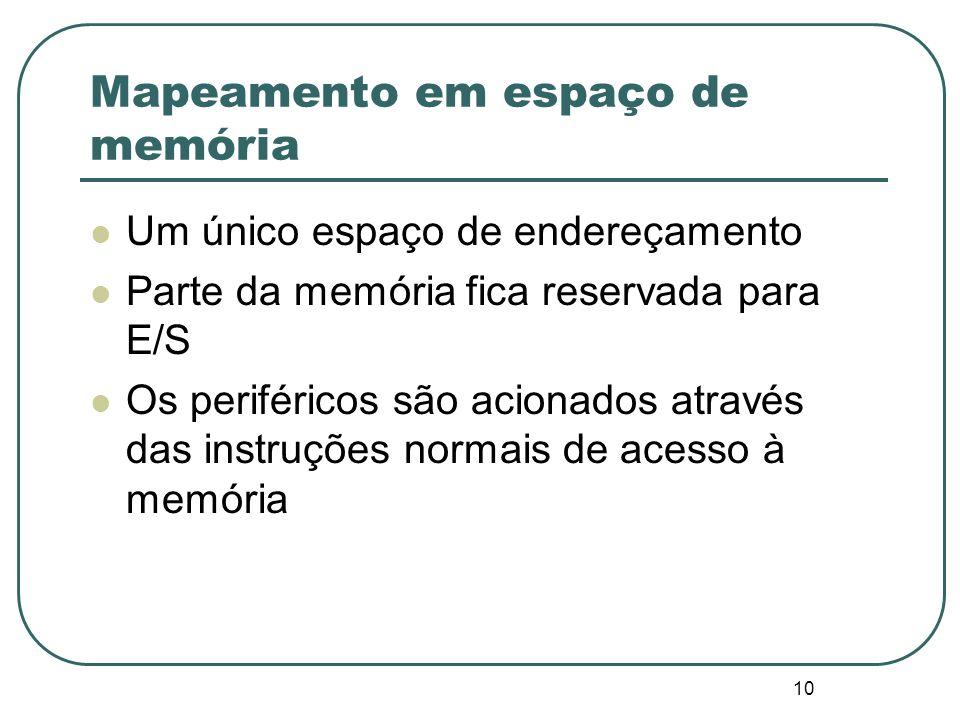 10 Mapeamento em espaço de memória Um único espaço de endereçamento Parte da memória fica reservada para E/S Os periféricos são acionados através das