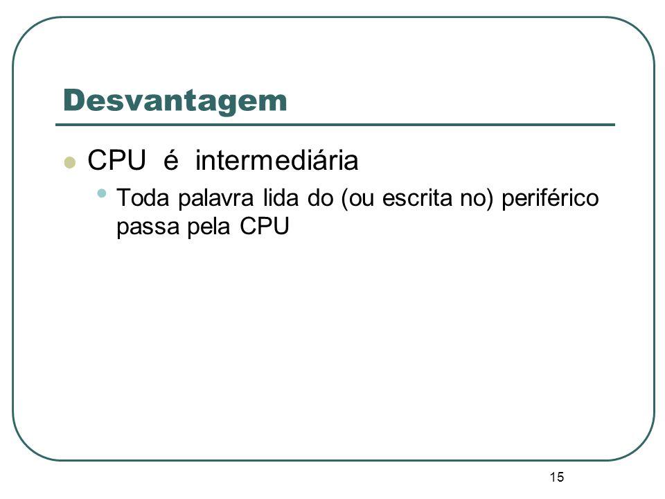 15 Desvantagem CPU é intermediária Toda palavra lida do (ou escrita no) periférico passa pela CPU