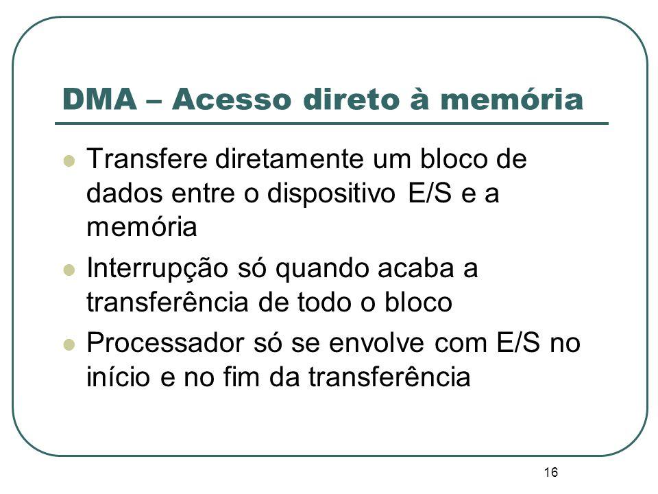 16 DMA – Acesso direto à memória Transfere diretamente um bloco de dados entre o dispositivo E/S e a memória Interrupção só quando acaba a transferênc