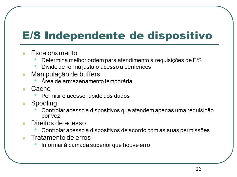 22 E/S Independente de dispositivo Escalonamento Determina melhor ordem para atendimento à requisições de E/S Divide de forma justa o acesso a perifér