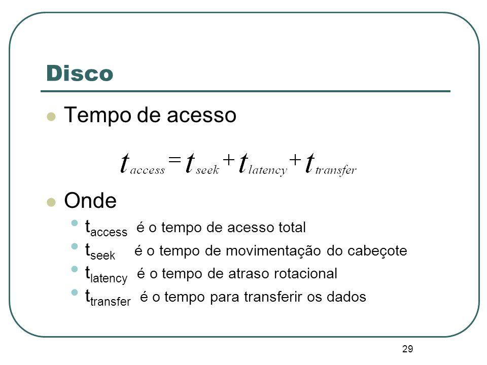 29 Disco Tempo de acesso Onde t access é o tempo de acesso total t seek é o tempo de movimentação do cabeçote t latency é o tempo de atraso rotacional