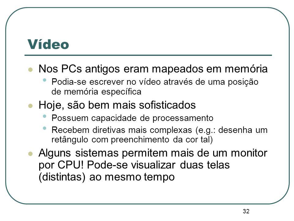 32 Vídeo Nos PCs antigos eram mapeados em memória Podia-se escrever no vídeo através de uma posição de memória específica Hoje, são bem mais sofistica