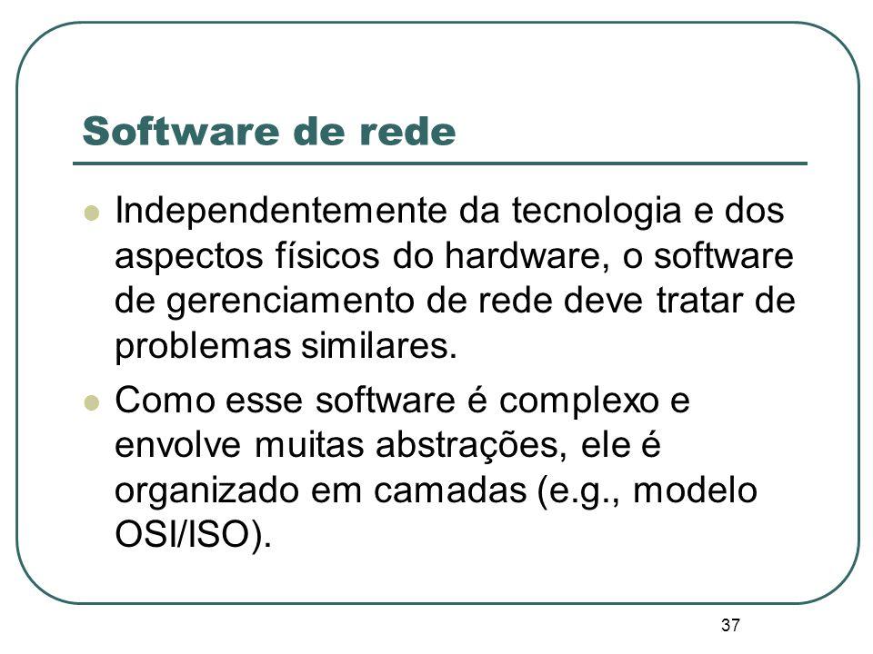 37 Software de rede Independentemente da tecnologia e dos aspectos físicos do hardware, o software de gerenciamento de rede deve tratar de problemas s