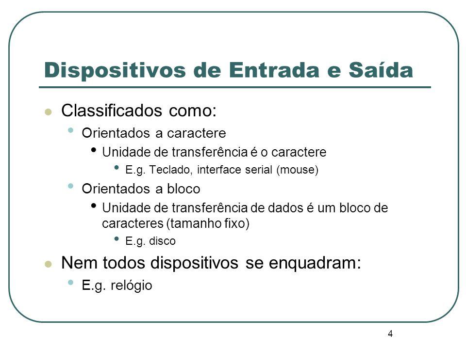 4 Dispositivos de Entrada e Saída Classificados como: Orientados a caractere Unidade de transferência é o caractere E.g. Teclado, interface serial (mo