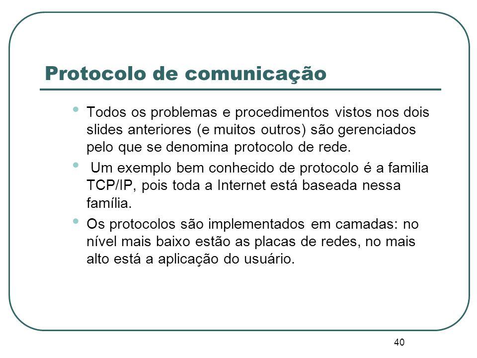 40 Protocolo de comunicação Todos os problemas e procedimentos vistos nos dois slides anteriores (e muitos outros) são gerenciados pelo que se denomin